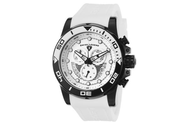 Swiss Legend Men's Avalanche Chronograph White Dial White Silicone (SL-21368-BB-02-WHAS)