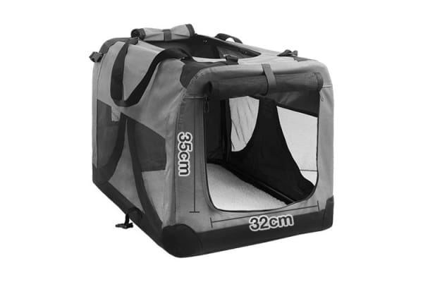 Large Portable Soft Pet Dog Crate Cage Kennel (Grey)