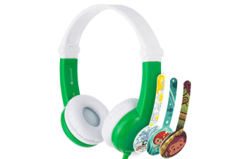 Buddyphones Connect Wired Headphones 3.5m w/Stickers/Microphone Kids 3y+ Green