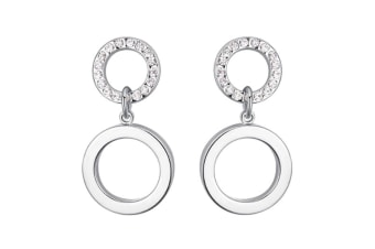 Women White Gold Plated 10mm Dangling Circle Earrings w/Swarovski Crystal