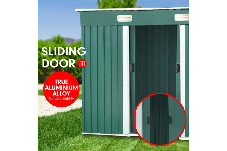 4ft x 8ft Garden Shed with Base Flat Roof Outdoor Storage - Green