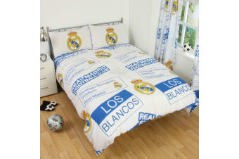 Real Madrid CF Childrens/Kids Official Patch Football Crest Duvet Set (White)