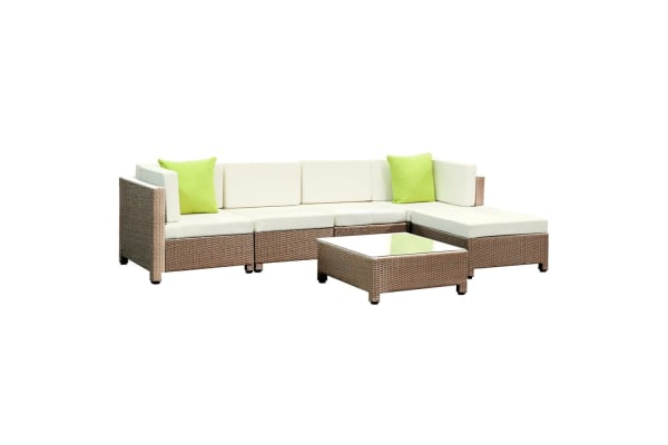 6 Piece Wicker Rattan 5 Seater Outdoor Lounge Set (Beige/(Brown)