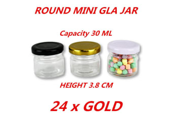 24 x 30ml Mini Round Honey Pot Glass Jar With Gold Lid Spice Lolly Jam Conserve