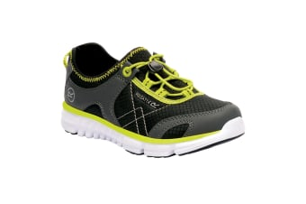 Regatta Great Outdoors Childrens/Kids Platipus II Lightweight Mesh Shoes (Black/Neon Spring) (1 UK)