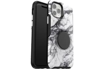 Otterbox iPhone 11 Pro Otter + Pop Symmetry Series Case PopSockets PopGrip 360 Degree Phone Protection Cover for Apple - White Marble