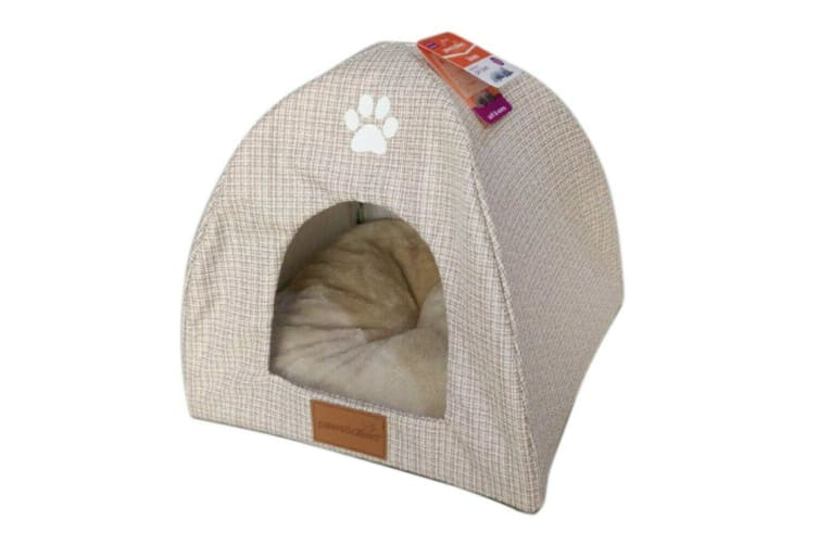 Ivory Cat Cave w Cushion Pet Pad Sleeping Bag Bed Mat Warm Puppy Nest House Soft Igloo