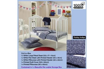 6 Pce - Gypsy Kids Cot in a Box  - Paisley Indigo by Gypsy Kids
