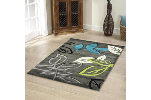 Stunning Thick Leaf Rug Blue Grey 170x120cm