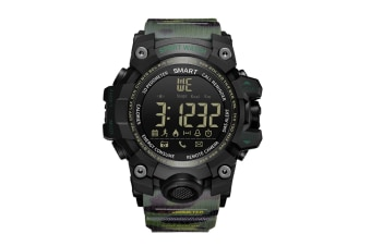 Men'S Bluetooth Stepper Watch Sports Camouflage Style Smart Electronic Watch Green
