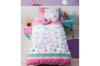 Cubby House Reversible Birdie Tree Quilt Cover Set Double