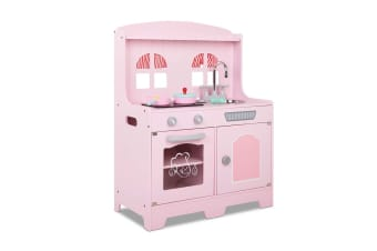 Kids Wooden Kitchen Pretend Play Set (Pink)