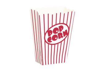 Unique Party Small Cardboard Popcorn Boxes (Pack Of 8) (Red/White) (One Size)