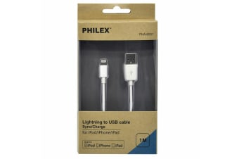 Philex 1m Lightning to USB Cable Charger/Sync Cord f/ Apple iPod/iPhone/iPad WHT