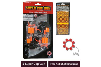 2x Cap Gun Toy Revolver 8 Shot Ring Pistol FREE 144 Shot Refill Rings