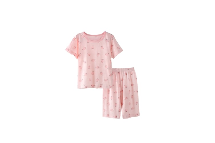 2Pcs Boys Girls Soft Cotton Short Sleeved Home Suit - 3 Pink 110Cm