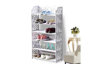 18 Pairs 6 Tiers White Hollow Shoe Rack