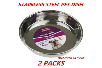 2 x Heavy Duty Metal Stainless Steel Dog Cat Pet Puppy Dish Food Water Bowl Plate