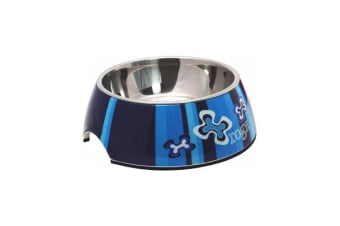 Rogz Bubble Dog Bowl Blue Bones - L