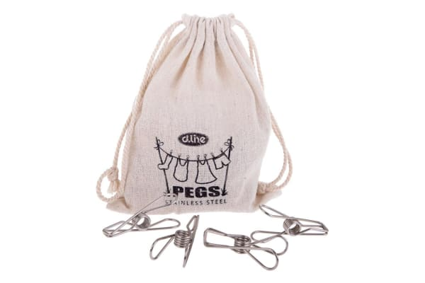36pc Stainless Steel Wire Clothes Pegs Hanging Clips Laundry Pins Clamp w  Bag