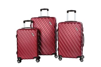 Todo Ultra Light Luggage Set 3Pcs Hard Shell Combination Locks - Maroon