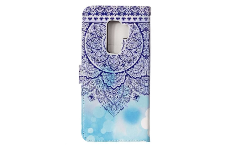 For Samsung Galaxy S9 Wallet Case Leather Blue Totem Flower Pattern