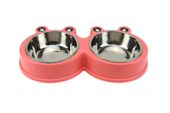 Select Mall Pet Bowl Stainless Steel Non-slip Double Bowl Cat Small and Medium Dog Bowl Eat and Drink Pet Food Utensils-Pink