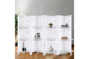 Artiss Room Divider Screen 8 Panel Privacy Foldable Dividers Timber Stand Shelf