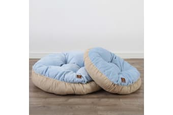 Pet Round Bed Cushion M - Light Blue/Cream