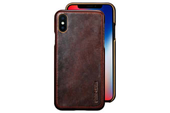 Pierre Cardin Genuine Leather Slim Case/Cover for Apple iPhone X/XS Dark Brown