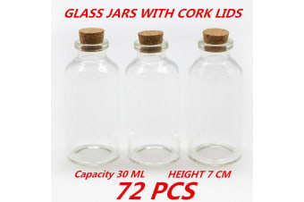72 x 30ml Clear Glass Multi-purpose Storage Bottle Jar with Natural Cork Lid Round