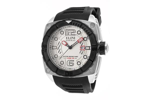 Elini Men's Commander White Textured Dial Black Silicone (ELINI-10014-02S-BB)
