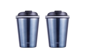 2x Avanti 280ml Go Cup Double Wall Insulated S S Travel Outdoor Mug w Lid Blue