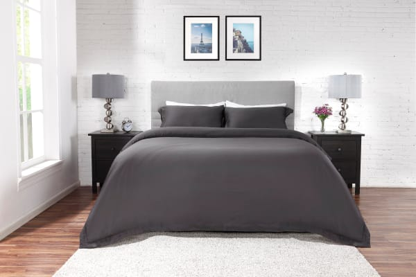 Ovela 400TC Cotton Rich Luxury Quilt Cover Set (Single, Charcoal)