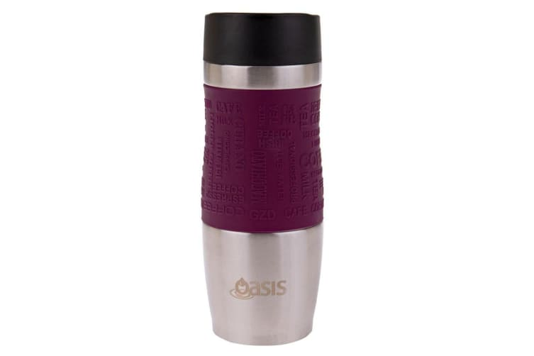 Oasis Cafe 380ml Stainless Steel Insulated Travel Drinkware Mug Drink Flask Plum