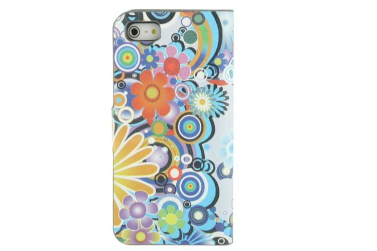 For iPhone SE 5S 5 Wallet Case Daisy Flower Flip Leather Shielding Cover