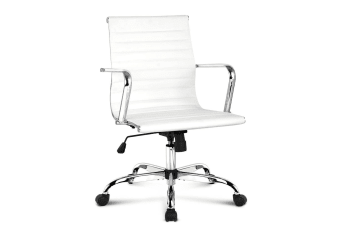 Replica Eames PU Leather Low Back Office Chair (White)