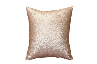 Decorative Glitzy Sequin & Comfy Satin Solid Throw Pillow Covers 18 Inch Square Pillow Case Champagne