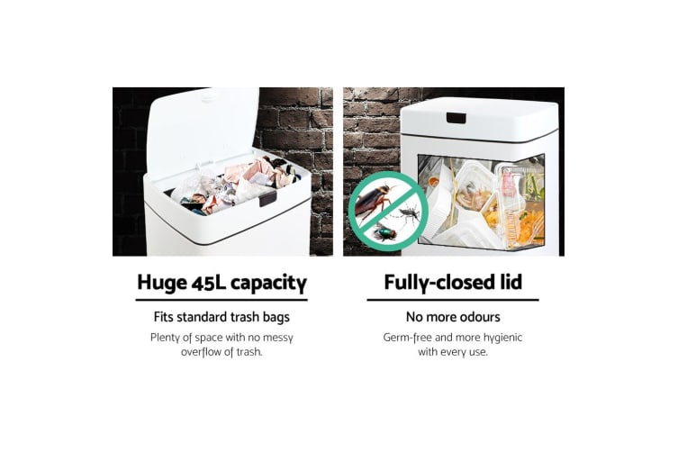 Devanti 45L Motion Sensor Bin Automatic Rubbish Trash Can Kitchen Touch Free WH