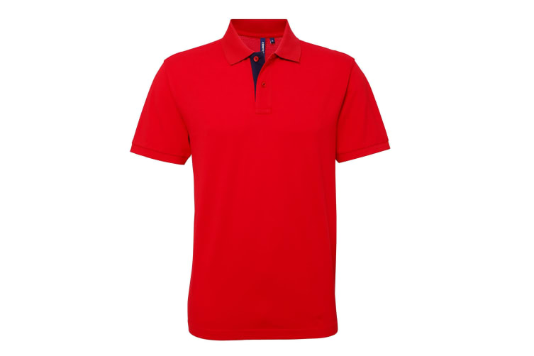 Asquith & Fox Mens Classic Fit Contrast Polo Shirt (Red/ White) (L)