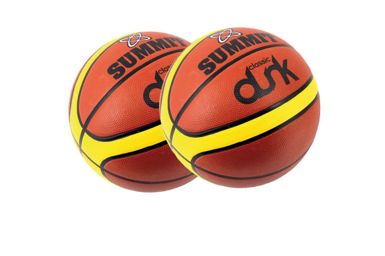 2x Summit Size 3 Classic Dunk Basketball Indoor/Outdoor Sport Rubber Ball Brown