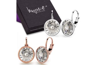 Boxed Lux Glow 2 Pairs Earrings Set Embellished with Swarovski crystals