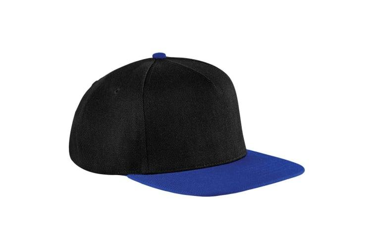 Beechfield Unisex Original Flat Peak Snapback Cap (Black/Royal Blue) (One Size)