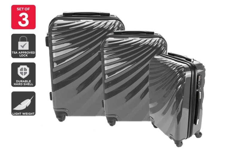 Orbis 3 Piece Deluxe UltraTough Spinner Luggage Set (Charcoal Grey)