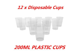 12 x 200ml Disposable Clear Hard Plastic Tumblers Cups Cup Party Wedding Events