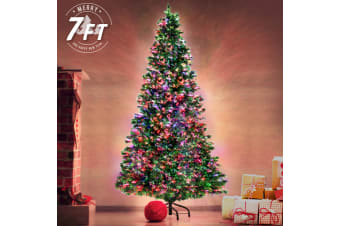 7Ft 450 Branches High Density Fibre Optic LED Xmas Tree - MULTI COLOUR