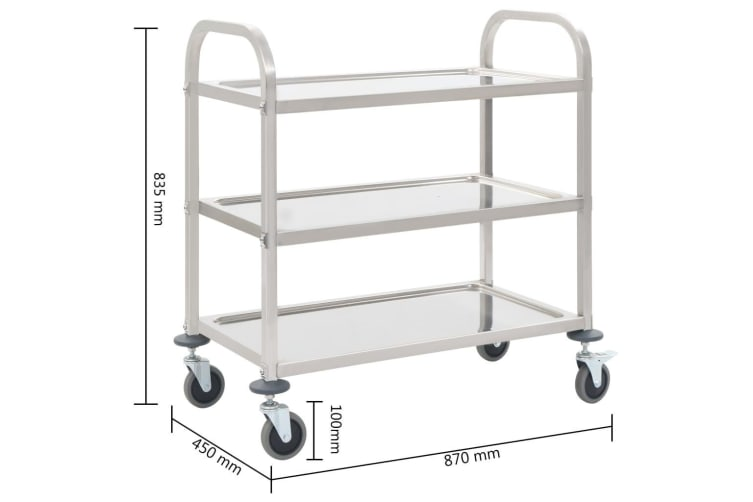 vidaXL 3-Tier Kitchen Trolley 87x45x83.5 cm Stainless Steel
