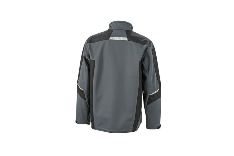 James and Nicholson Mens Workwear Softshell Jacket (Carbon Grey/Black) (4XL)