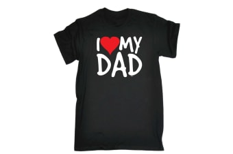 123T Funny Tee - I Love Dad Red Heart - (3X-Large Black Mens T Shirt)