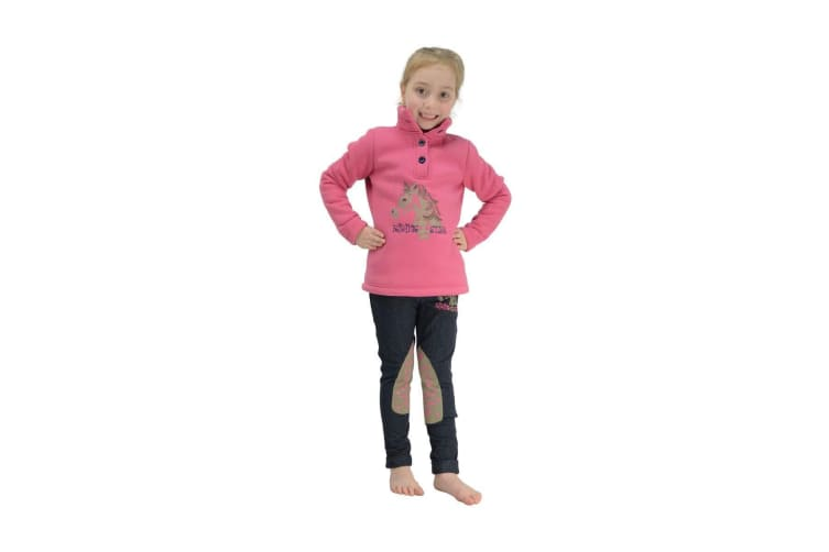 Little Rider Childrens/Girls Riding Star Jumper (Rapture Rose/Total Eclipse) (5-6 Years)